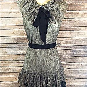 2 Toned belted ruffle dress